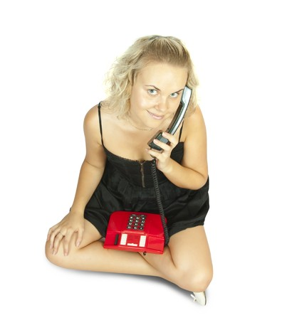Happy woman on phone isolated over white photo
