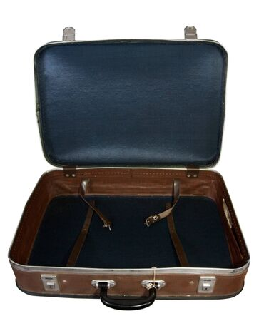 Brown vintage suitcase. Isolated over white background Stock Photo - 7576475