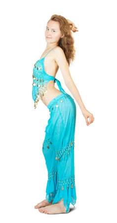 bellydancing:  Brunette girl in oriental costume dancing bellydance Stock Photo