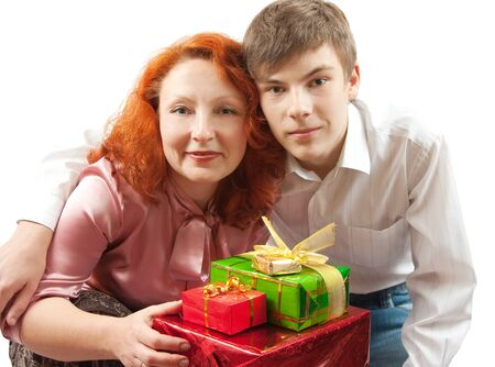happy mom and smiling son celebrating holiday Reklamní fotografie - 7601922