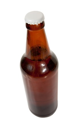 dark beer bottle , isolated on white  photo