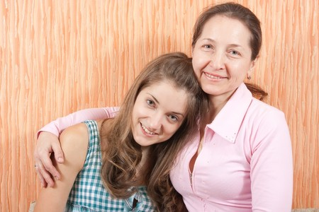 Portrait Of Mother and Young Daughter indoor Stock Photo - 7662820