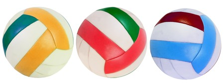 Three volleyball balls isolated over white