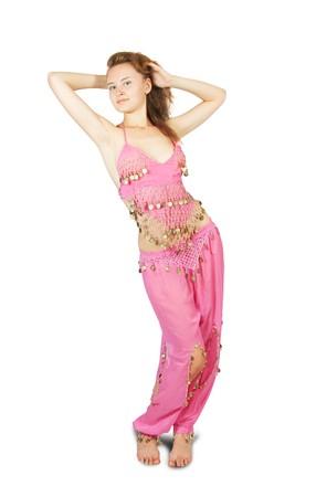 bellydance:  Brunette girl in oriental costume dancing bellydance Stock Photo