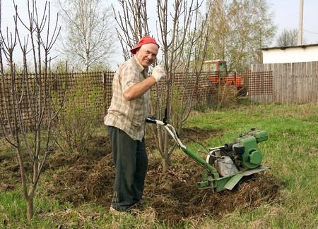 motor hoe: Senior gardener  working in the yard with mini tractor  Stock Photo