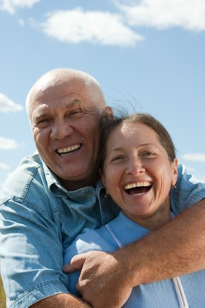 Portrait of a happy romantic couple outdoor