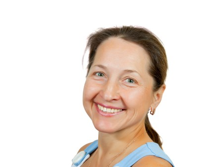 Portrait of happy mature woman. Isolated over white background Stock Photo