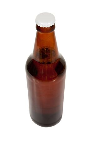 single beer bottle: dark beer bottle , isolated on white with clipping path