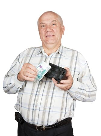 Mature man  holding his black leather wallet and money photo
