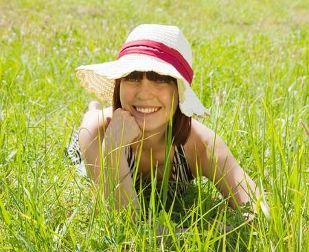 teener: Portrait of girl in  summer dress at meadow