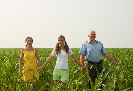 Beautiful cheerful family  go for a walk over a field