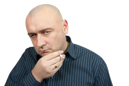 lamentable: unsuccessful man with cigarette isolated on white Stock Photo