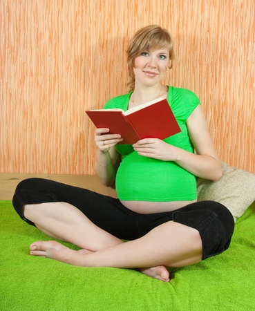 Happy pregnant woman reading a book at home Stock Photo - 8861700