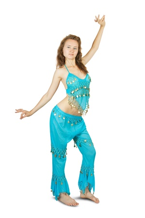 bellydancing: beautiful girl posing in ethnic wear isolated on white