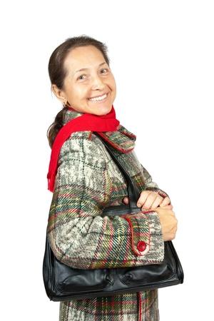 overcoat: Portrait of elegant senior lady in overcoat