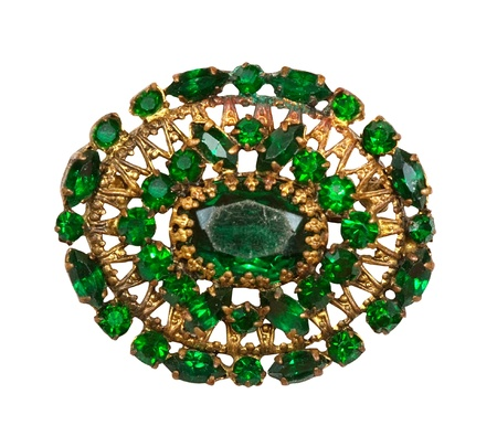 brooch: Green brooch isolated on a white background