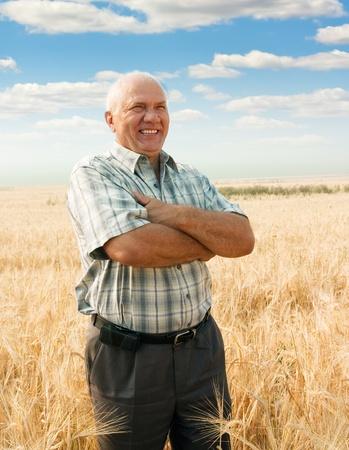 農家: 小麦の分野で成功した農業の専門家です。収穫時期 写真素材