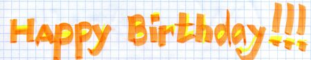simple school drawing HAPPY BIRTHDAY. on chequered paper photo