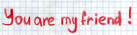 simple school drawing YOU ARE MY FRIEND. on chequered paper Stock Photo - 9351306