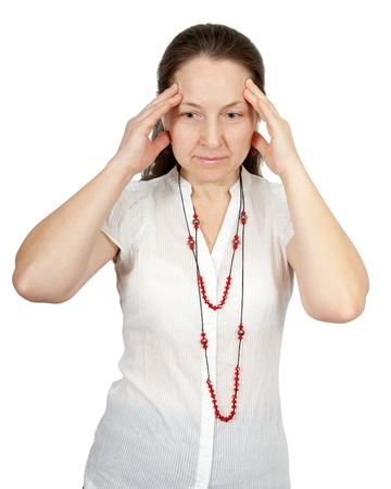 cephalgia: Woman having a headache holding her forehead in pain Stock Photo