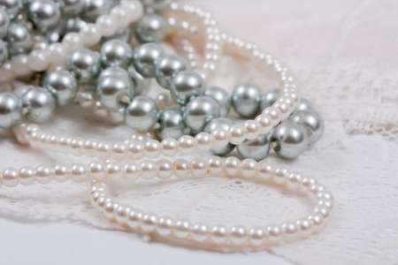 elegant white  lace with pearls can use as wedding background photo