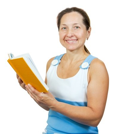 50 55: Cheerful mature woman with  yellow opened  book