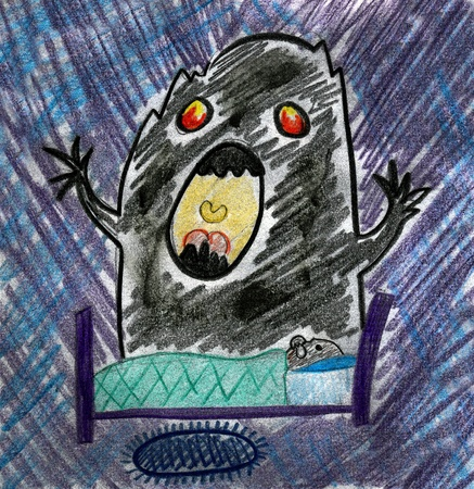 morbid:  afraid child in his bed  near with monster. simple school drawing on paper