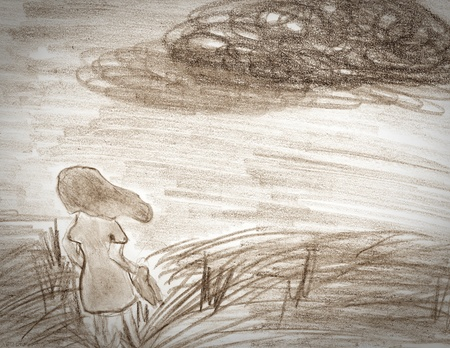 oneness: Sepia drawing on paper of one girl on meadow . loneliness