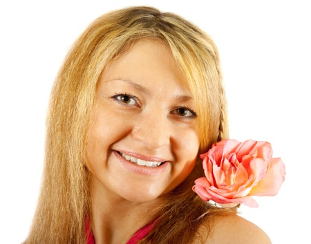 traditionary: Portrait of a beautiful middle aged woman holding  pink rose isolated on white background Stock Photo