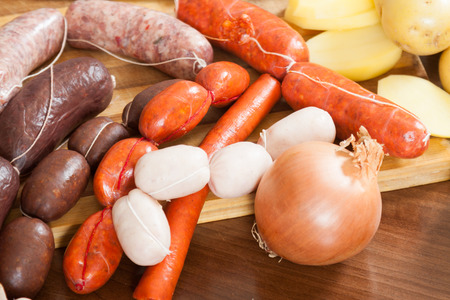 prepack: several kinds of traditional Spanish sausage on  table