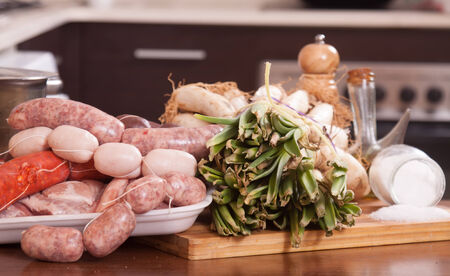 prepack: shallot  and meat on  kitchen table in  interior