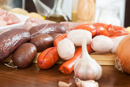 prepack: several kinds of traditional Spanish sausage on the table