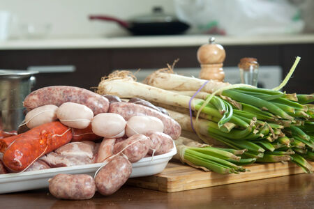 prepack: traditional Spanish sausage on a cutting board
