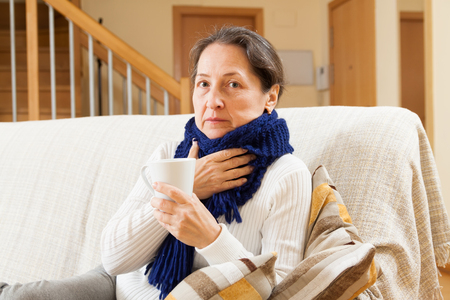 unwholesome: Illness woman doing home therapy Stock Photo