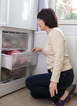 Adult housewife   at   kitchen near  freezer