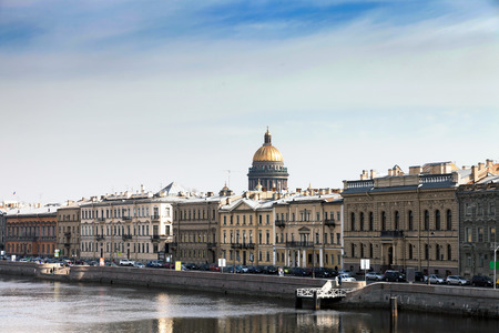 neva: landscape of St. Petersburg from Neva river embankment Stock Photo