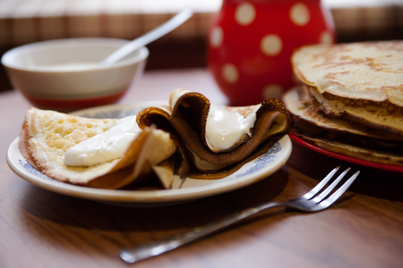 shrove: traditional Russian  pancakes on Shrove Tuesday. Stock Photo