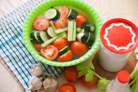Pickled vegetables with brine in green plate. Stock Photo