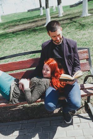 Portrait of   beautiful young couple in   spring park. Stock Photo
