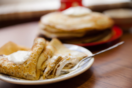 traditional Russian  pancakes on Shrove Tuesday. Stock Photo