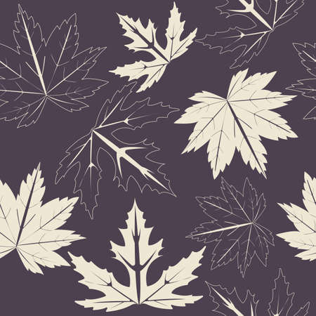 sycamore: Endless pattern with maple leaves on purple background can be used for linen, tile, design fabric, web pages, cover  and more creative designs.
