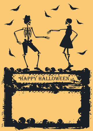Halloween background with cDancing Skeleton on yellow background. Image Can be used for Halloween greeting card, posters, banners and invitation.