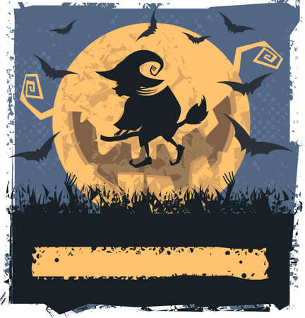 flying witch: Vector image with Flying Witch On Broom. Can be used for Halloween card, greeting card, poster and banner. Illustration