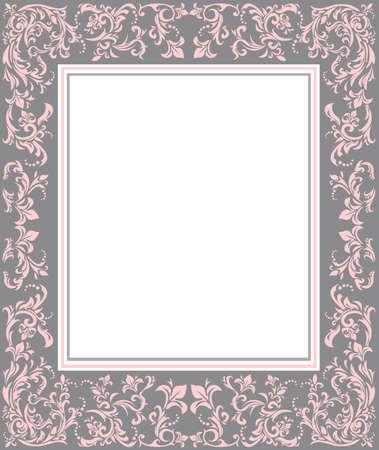 Vintage Frame with floral elements for greeting cards and invitations. Vettoriali