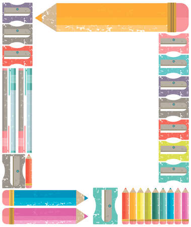 young schoolchild: Frame with Colour pencils. School and office frame for stationery, scrapbooks. Vector image. Back to school concept.