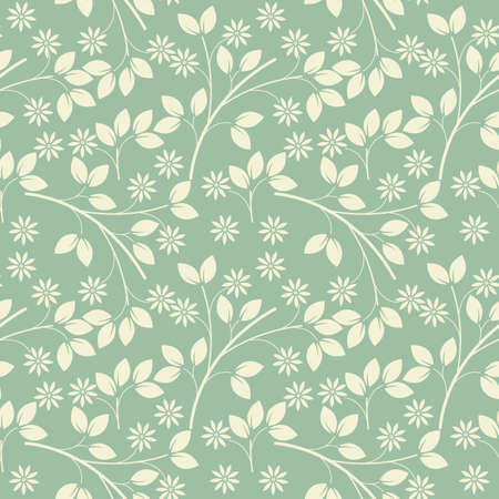 freshness: Endless pattern with ivory flowers and leaves on light green freshness background. Vector template can be used for surface textures, textile, linen, tile, kids cloth, pattern fills and more creative designs.