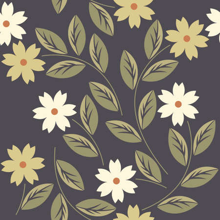 asian gardening: Elegant endless pattern with white and yellow flowers can be used for design fabric, backgrounds, wrapping paper, package, covers, linen and more designs.