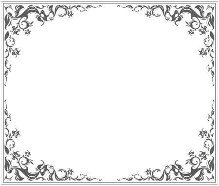 Oval frame with stylish vintage ornament and floral elements can be used for your creative designs. Vettoriali