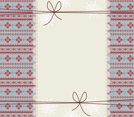 lace frame: Happy New Year Greeting card with lace frame and stylish ornament. Retro Christmas frame with cute bows for your designs.