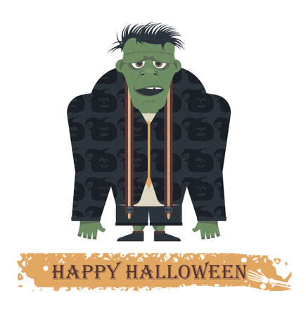 scary story: Halloween greeting card with stylish Zombie. Cartoon Illustration can be used for Halloween greeting card, posters, banners , invitation  and more designs. Illustration